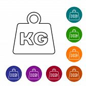 Grey Weight Line Icon Isolated On White Background. Kilogram Weight Block For Weight Lifting And Sca poster