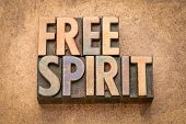 free spirit word abstract in vintage letterpress wood type poster