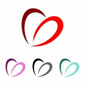 Abstract Swoosh Heart Logo Template Illustration Design poster