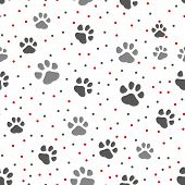 Dog Paw Track. Seamless Animal Pattern Of Paw Footprint. Vector Illustration. poster
