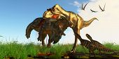 Mother Albertosaurus Dinosaur 3d Illustration - Albertosaurus Mother Dinosaur Brings Her Offspring A poster