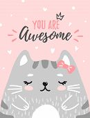 Cute Kitty With Text You Are Awesome In Soft Pastel Color On Pink Background. Cute Cat For Greeting  poster