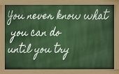 Expression -  You Never Know What You Can Do Until You Try - Written On A School Blackboard With Cha poster