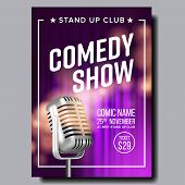 Colorful Poster Of Comedy Show In Club . Vintage Metal Microphone Purple Curtain On Background Banne poster