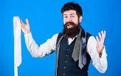 When Dressing In Suit Necktie Often Add Dash Of Flavor To Overall Outfit. Man Bearded Hipster Hold F poster