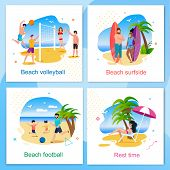 Rest And Active Time On Beach Cartoon Cards Set. Volleyball, Football, Surfside And Resting Zone. Su poster