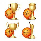 Basketball Game Award Set . Basketball Ball, Golden Cup. Modern Basketball Tournament. Design For Sp poster