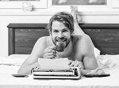 Writer Handsome Author Used Old Fashioned Manual Typewriter. Morning Bring Fresh Idea. Morning Inspi poster