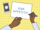Writing Note Showing Risk Appetite. Business Photo Showcasing The Level Of Risk An Organization Is P poster