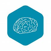 Genius Brain Icon. Outline Genius Brain Vector Icon For Web Design Isolated On White Background poster