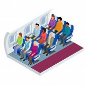 Isometric View Of The Interior Of An Airplane. Airplane Passengers And Crew. Various Airplane Passen poster