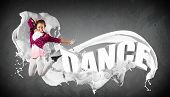 pic of rap  - Modern style dancer jumping and the word Dance - JPG