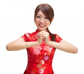 picture of traditional attire  - Chinese girl in traditional Chinese cheongsam greeting - JPG
