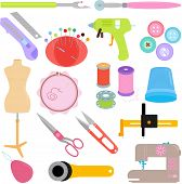picture of handicrafts  - Vector of Sewing Tools and Handicraft accessories - JPG