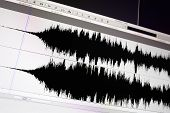 pic of waveform  - Timeline window with black sound waveform in the film editing soft - JPG