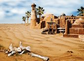 pic of oasis  - bones in desert - JPG