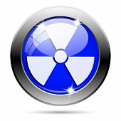 stock photo of radium  - Metallic round glossy icon with white design on blue background - JPG