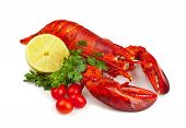 stock photo of lobster tail  - Red lobster with lemond ad parsley on white background - JPG