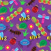 stock photo of baby spider  - Seamless background with the image of different cartoon insects - JPG
