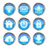 set of blue web icons on a white background