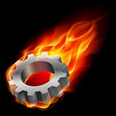 Gearwheel in fire