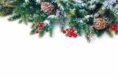 pic of snow border  - Christmas decoration Holiday decorations isolated on white background - JPG