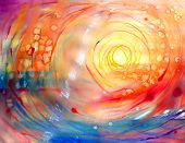 picture of expressionism  - a Watercolor painted abstract red sun picture  - JPG