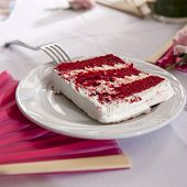 pic of red velvet cake  - slide of red velvet wedding cake on plate - JPG