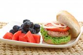 healthy low fat chicken burger with fruit isolated on white