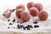 Raw Meat Balls On White Kitchen Paper