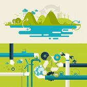 stock photo of save water  - Set of flat design vector illustration concepts for ecology - JPG