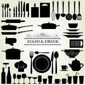 pic of chef knife  - Food and Drink vector set  - JPG