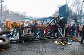 KIEV,UKRAINE FEB 22: A catapult is made by the protesters to attack the riot police with mark: