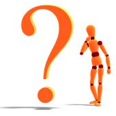 An Orange Red Manikin Standing By A Question Mark poster