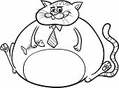 Fat Cat Saying Cartoon Illustration