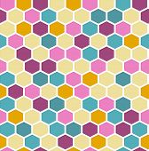 stock photo of mayhem  - The geometric background made out of hexagons in various colors - JPG