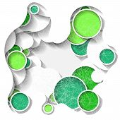 Bright Three-dimensional Abstract Background With Green Circles. Eps10