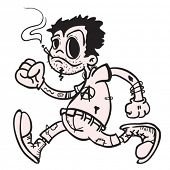 foto of teen smoking  - punk boy walking and smoking cartoon - JPG