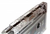 stock photo of magnetic tape  - transparent cassette tape and brown tape isolated - JPG