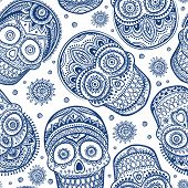 picture of voodoo  - Vintage ethnic hand drawn human skull can be used as a greeting card - JPG