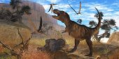 stock photo of behemoth  - A Tyrannosaurus Rex dinosaur tries to eat his Triceratops kill when Pteranodons harass him - JPG