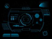 image of hologram  - Futuristic blue virtual graphic touch user interface HUD - JPG