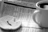 foto of nyse  - coffee and bagel over morning stock market report - JPG