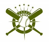 stock photo of bat  - Baseball championship icon or emblem with a ball and crossed bats on a circle with radiating stars in olive green on white - JPG