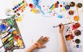 picture of paint palette  - Creative art concept with colorful paints over white paper - JPG