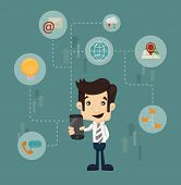 pic of multitasking  - Businessman communication technology eps 10 vector format - JPG