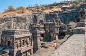 stock photo of ellora  - View at the Kailasanatha Temple in Ellora  - JPG