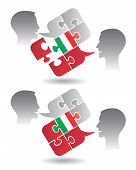 image of pronunciation  - Two students and Puzzle bubble talk with a Italian flag symbolizing Italian conversation and understanding - JPG