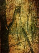 picture of manila paper  - Vintage grunge yellow paper texture with winter bare trees landscape - JPG