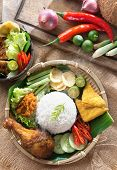 picture of ayam  - Popular Indonesian local food nasi ayam penyet - JPG